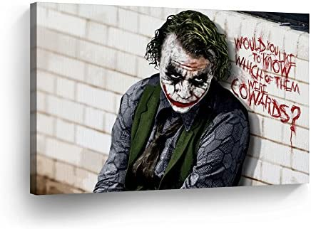 Joker Heath Ledger The Dark Knight Quote Canvas Print Wall Art Vector Digital Painting Decorative Home Decor Poster Artwork Framed and Stretched