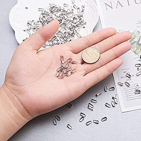 UNICRAFTALE 100pcs Stainless Steel Snap on Bails Silver Tones Clip Bail Pushed Clasps for Pendant Jewelry Making 6x3x2mm Hole 2x5.5mm