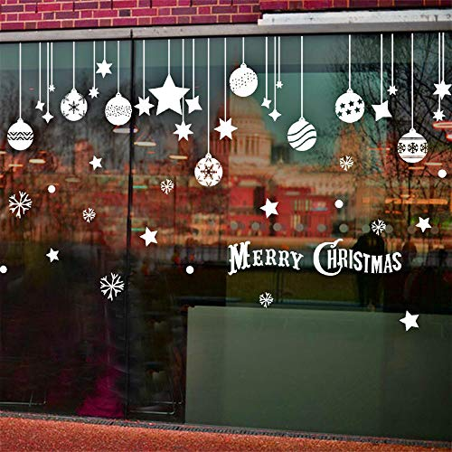 (Elfpoeme Christmas Window Decals,Winter Window Clings,White Star Snowflakes Decorations,Xmas Holiday Merry Christmas Decal,Removable PVC Wall Sticker,Winter Wonderland Party Ideas,New Year)