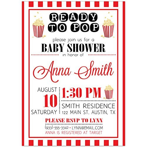 Popcorn Ready to Pop Baby Shower Party Invitations (Party Popcorn Invitations)