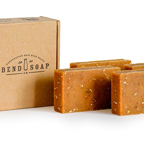 Bend Soap Company All Natural Goat Milk Soap - Paraben and GMO Free - Handmade in USA - Soothe Cracked Skin, Relax and Exfoliate - Overall Dry Skin Relief (Oatmeal Honey, 4 Pack of 4.5oz)…
