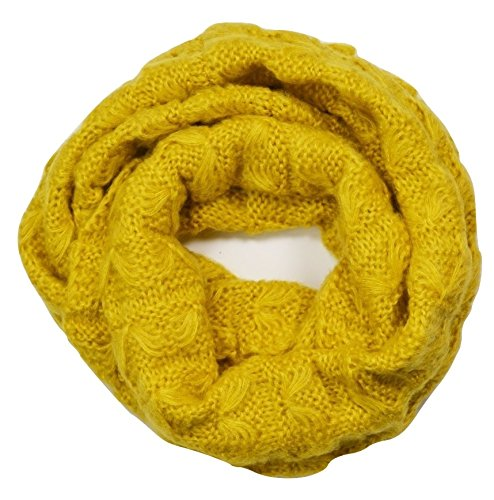 Knitted Chunky Infinity Loop Scarf Honeycomb Pattern Mustard Yellow