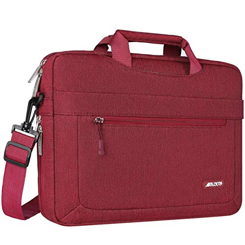 MOSISO Laptop Shoulder Bag Compatible with MacBook Pro 16 inch A2141, 15-15.6 inch MacBook Pro, Notebook, Polyester Messenger Carrying Briefcase Sleeve with Adjustable Depth at Bottom, Wine Red