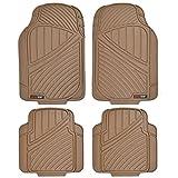 Motor Trend MT-774-BG FlexTough Standard-4-Piece Heavy Duty Rubber Floor Mats, Beige Tan