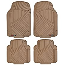 Motor Trend MT-774-BG FlexTough Standard-4-Piece Heavy Duty Rubber Floor Mats, Beige Tan