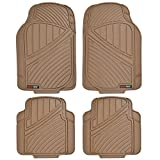 universal car mats tan - Motor Trend FlexTough Standard - 4pc Set Heavy Duty Rubber Floor Mats for Car SUV Van & Truck (Tan Beige)