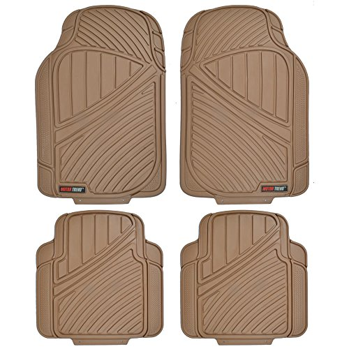 Motor Trend FlexTough Standard - 4pc Set Heavy Duty Rubber Floor Mats for Car SUV Van & Truck (Tan Beige)