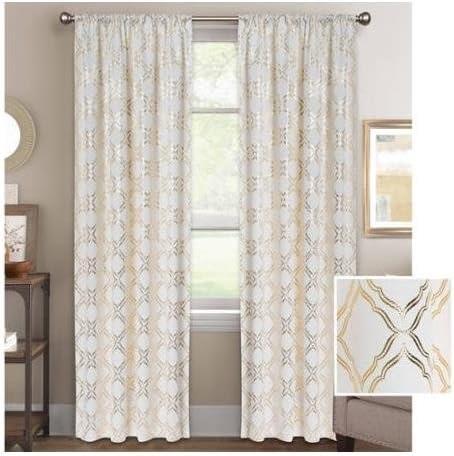 bh g metallic trellis gold foil curtain panel 52 x 84 848322029077