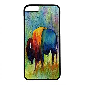 Hard Back Cover Case for iphone 6 Plus,Cool Fashion Black PC Shell Skin for iphone 6 Plus with American Buffalo IIi