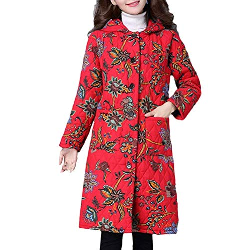 Thermal Pockets Sleeve Red Women Jacket Hooded Trendy Fit Warm Outerwear Slim Printed Winter Long Jacket Outerwear Front Long Patterned Quilted 0nHxOwf0