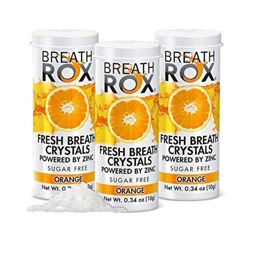 BreathRox Breath Mints Bad Breath Treatment Alcohol-Free Effervescent Mouthwash Neutralizer Fights Halitosis and Bad Breath Odors (Morning, Coffee, Smokers, Garlic) - Orange Flavor (3-Pack)