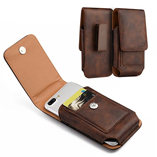 Brown Pouch - PLUS SIZE Pouch Case Holster for APPLE IPHONE 8 PLUS , IPHONE 7 PLUS , iPHONE 6 PLUS , iPHONE 6S PLUS [ 5.5''] ~ Heavy Duty Black Flap Leather Vertical Case Cover Belt Clip Holster - Brown