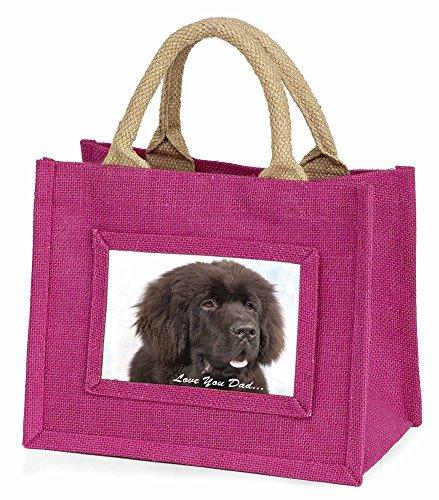 Advanta–Mini Pink Jute Tasche Neufundländer Hund Love You Dad Little Mädchen klein Einkaufstasche Weihnachten Geschenk, Jute, pink, 25,5x 21x 2cm