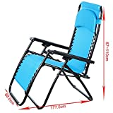 Zero Gravity Lounge Chair Camping Furniture, Lawn Reclining Patio Chair with Lightweight Steel Frame & Adjustable Padded Pillow & Dual Finger Tip Locking System [ US STOCK ] (Blue)