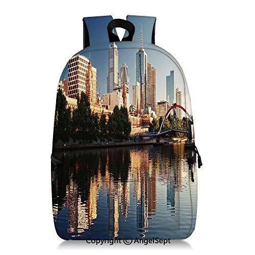 Backpack Idyllic View of Yarra River Melbourne Australia Architecture Tourism Fashion Casual Daypack and Student Backpacks Dark Blue Ivory Dark Green (Best Laptop For Architecture Student Australia)