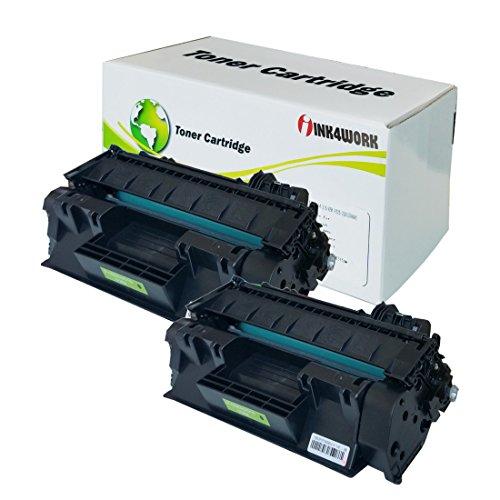 (INK4WORK Compatible Toner Cartridge Replacement for HP CE505A (05A) use with Laserjet P2035 P2035n P2055d P2055dn P2055X (Black, 2-Pack))