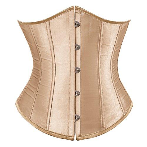 - Kranchungel Women's Vintage Satin Underbust Corset Bustier Waist Cincher Bodyshaper X-Large Beige
