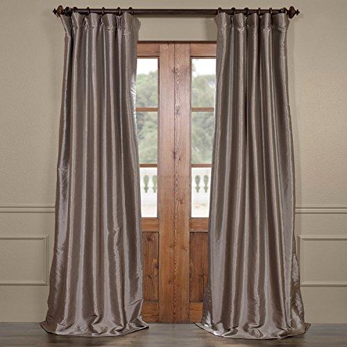 Panel Platinum Curtain (Half Price Drapes PTCH-BO112-96 Blackout Faux Silk Taffeta Curtain, Platinum)