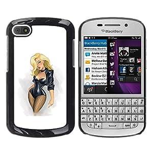 TopCaseStore / la caja del caucho duro de la cubierta de protección de la piel - Blonde Stockings Fishnet Chick - BlackBerry Q10
