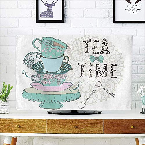 - VANKINE LCD TV Cover Multi Style,Kitchen Decor,Vintage Style Tea Time Party Print Home Cafe Design Floral Classic Cup Collection,White Turquoise,Customizable Design Compatible 65