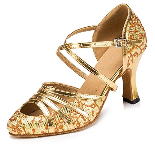 Minishion Women's T-strap Glitter Salsa Tango Ballroom Latin Dance Shoes Wedding Pumps Floral Gold-8cm Heel