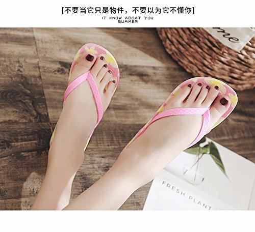 LIUXINDA fashion XZ British shoes and fashion shoes Pink flip Summer slope beach flops printed qq64Ewr