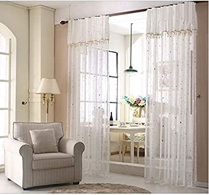 2cd19ad79accc TIYANA Stars Curtains with Attached Valance, Rod Pocket Top, Accept Custom  Size and Custom Processing Way