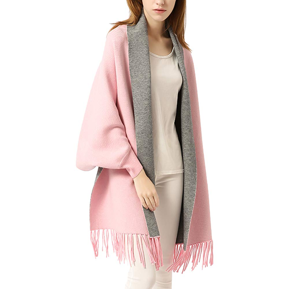 Women Poncho Embroidery Cloak Cape Shawl Wrap Fashion Scarf with Bat Sleeve Tassels Pashmina (Pink Gray-Solid Color)