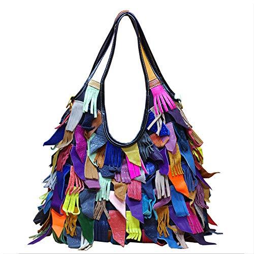 Segater Women's Multicolor Boston Bag Genuine Leather Colorful Patchwork Large Tote Handbag Hobo Purse Crossbody Big Bag