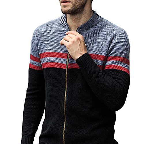 Pull Striped Un Noir Fashion Point Grande Internet Promotion Coupe Slim Mens Jacket 5Wn1Wq0f