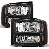 99 superduty headlights - Black Bezel 99-04 F-Series Superduty 00-04 Excursion Headlights Front Lamps Replacement Pair