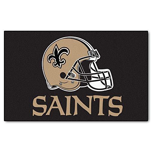 MISC 5'x8' NFL Saints Mat Sports Football Area Rug Team Logo Printed Large Mat Floor Carpet Bedroom Living Room Bathroom Home Decor Athletic Game Fans Gift Nonslip Backing Soft Nylon, Black Tan ()