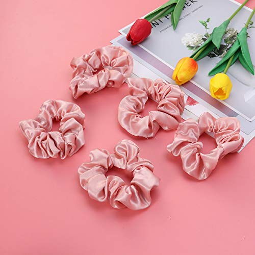 5 Pcs Hair Ties Cloth Solid Color Elastic Stretch Hair Ties Decoration for Women (Color - Pink) ()