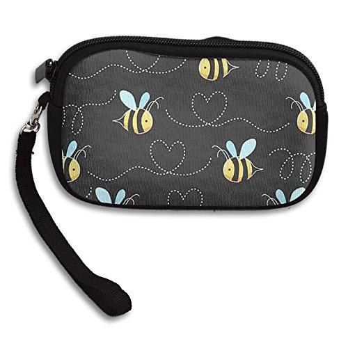 Zipper Small Wallet Yellow Bumblebee Women's Purse Porte-monnaie Clutch Cards Holder Wallet Purse Business Card -