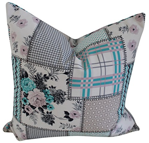 Handmade Turkish Throw Pillow Cover Case, Blue Quilt Patchwork Print, 20 x 12 Inch