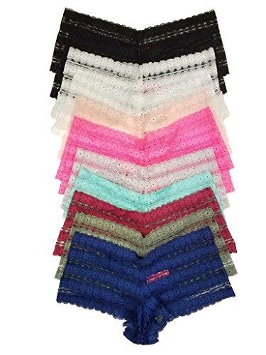Floral Pattern Lace Boyshort Panties 12 pack