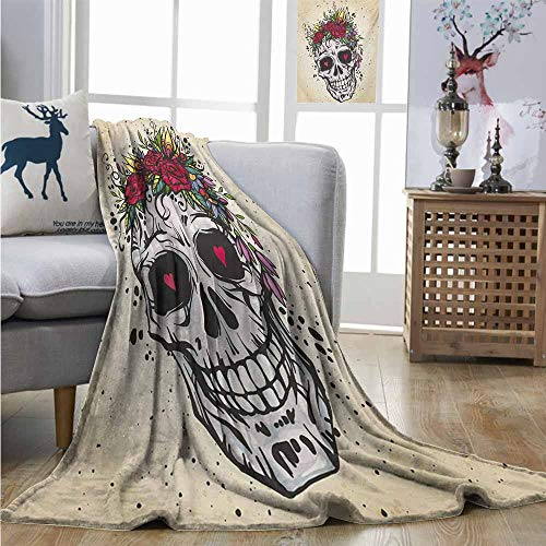 Degrees of Comfort Weighted Blanket Sugar Skull Human Skull with Wreath of Roses and Wild Flowers Hearts in Boho Chic Design Full Blanket W70 xL93 Multicolor