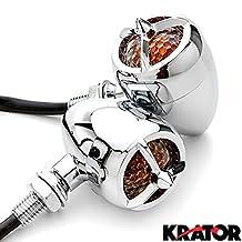 Krator 2pc Chrome Heavy Duty Motorcycle Turn Signals Warplane Propeller Engine Blinkers For Honda Shadow Aero Phantom VLX 750 1100