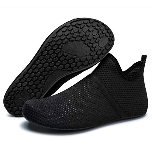 Barerun Barefoot Quick-Dry Water Sports Shoes Aqua Socks for Swim Beach Pool Surf Yoga for Women Men (XL(W:10.5-11,M:8-9), Mid Black) ()