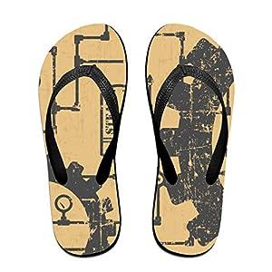 Flip Flop Sandal- Stylish Steampunk Print Casual Summer Beach Slippers for Men Women