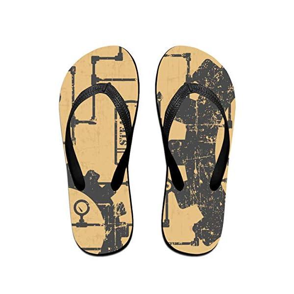 Flip Flop Sandal- Stylish Steampunk Print Casual Summer Beach Slippers for Men Women 3