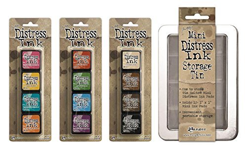 ranger tim holtz distress mini ink pad kits with storage tin 1 2 and 3 bundle buy online. Black Bedroom Furniture Sets. Home Design Ideas