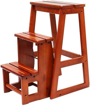 Perchero Taburete de escalera de madera de goma de doble uso Taburete de escalera antideslizante de