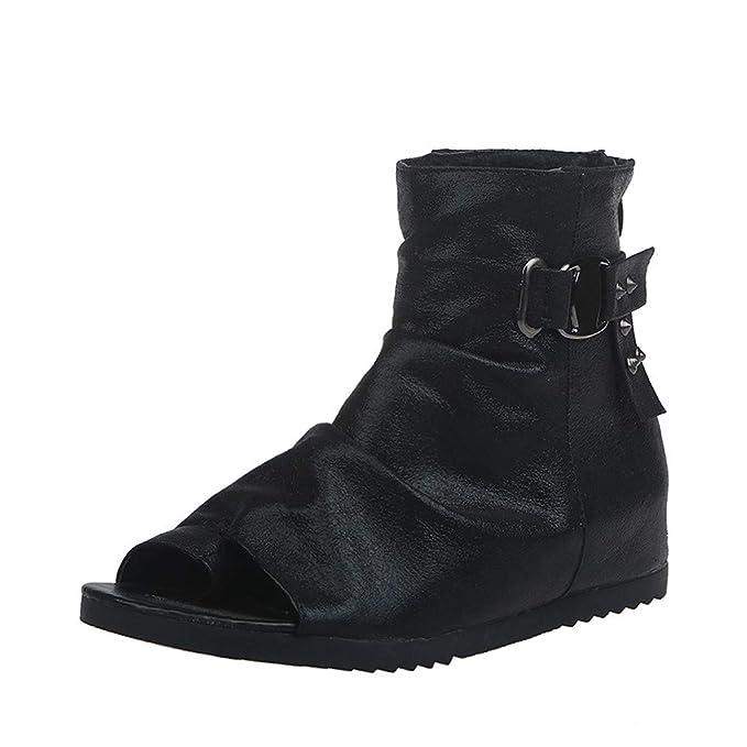 Sandalias Mujer Verano Plataforma Plana de Mujeres Retro de Moda Remaches Zapatos Boca de Pescado Hebilla Sandalias de Correa Zapatos Zapatillas: Amazon.es: ...