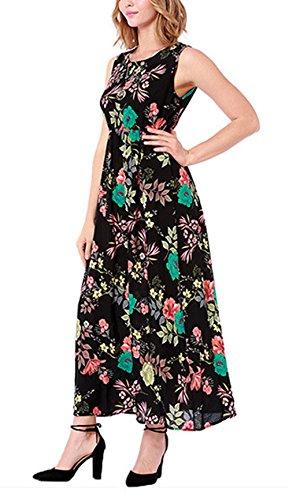 Sottili Vestito Casual Spalline Abito Scollo Maxi Tasche Nero di Stampato Runant Lunga lungo Vacanze Gonna Boho Donna Dress Eleganti Spiaggia Fiore YvdgYx1
