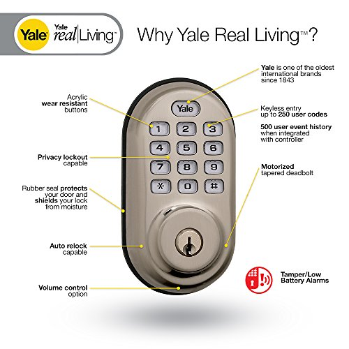 Yale Real Living Keyless Push Button Z-Wave Deadbolt
