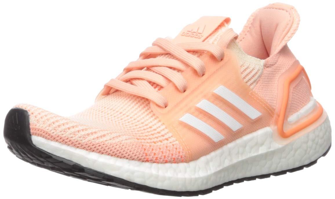 adidas Unisex Ultraboost 19 Running Shoe, Linen/White/Glow Pink, 7 M US Big Kid by adidas
