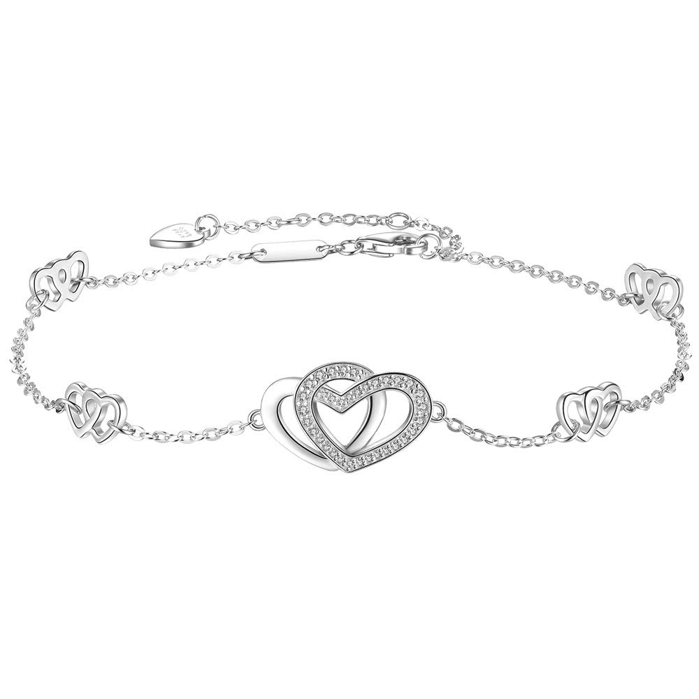 DESIMTION Womens 925 Sterling Silver Heart Anklet Love Adjustable Ankle Bracelet Large Bracelet Gift for Women Teen Girls Christmas Day by DESIMTION