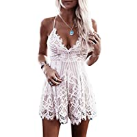Imily Bela Women's Sleeveless Spaghetti Halter Deep V Neck Backless Lace Mini Jumpsuits
