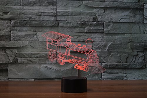 3D Illusion Led Lamp, 7 Color Changing Touch Table Desk 3D Deco Light for Bedroom Children Room Festival USB Powered Decorative Night Light (Locomotive) Non Powered Locomotive